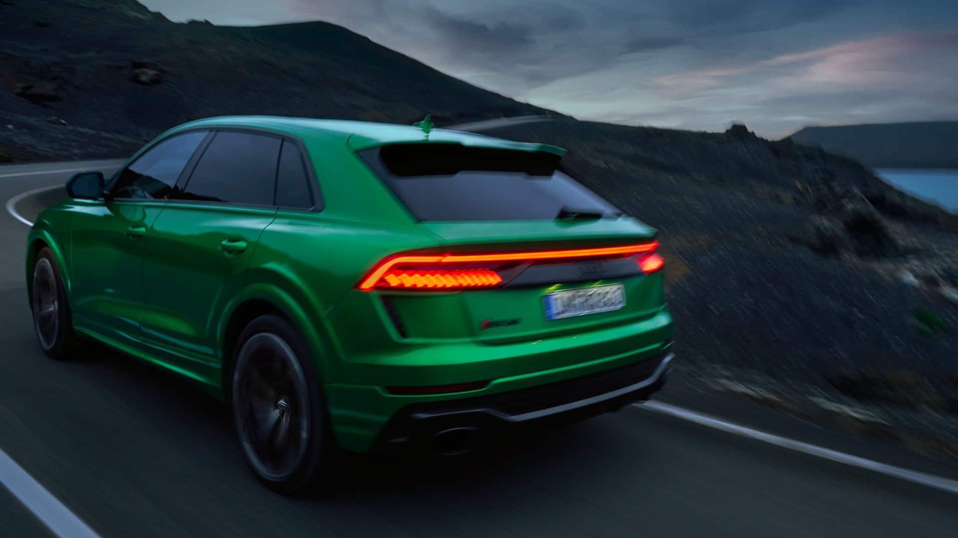 The Audi RS Q8 in dynamic pass-by